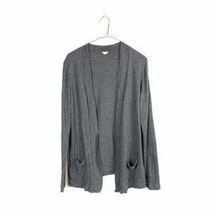 J. Crew L/S Draped Open-Face Gray Cardigan Sweater
